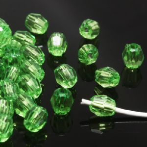 Beads, Imitation Crystal beads, Acrylic, Dark green, Faceted cylindrical, 4mm x 4mm x 5mm, 2g, 100 Beads, (SLZ0427)